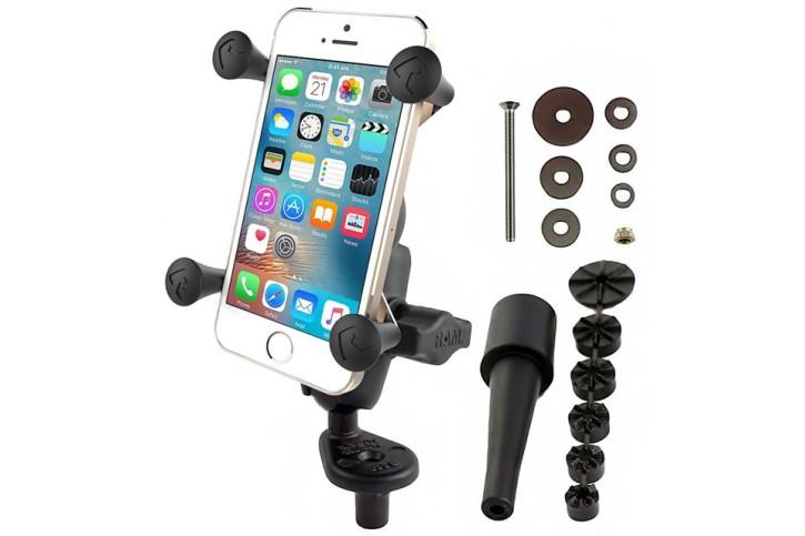 RAM Mounts Motorradhalterung mit X-Grip Universal Halteklammer für Smartphones - Lenkerkopf-Adapter