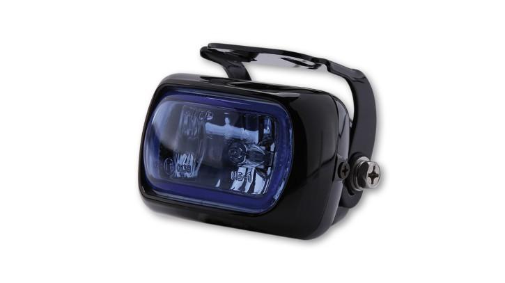 SHIN YO Nebelscheinwerfer schwarzes Alugehäuse mit Halter, Glas blau