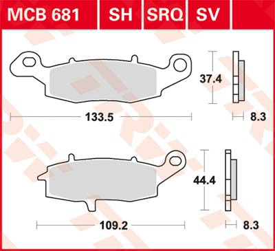 TRW Lucas Racing brake pad MCB681SRQ without homologation