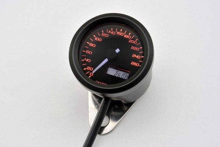 DAYTONA Digital speedo VELONA, black, Ø 48mm, scale 260 km/h
