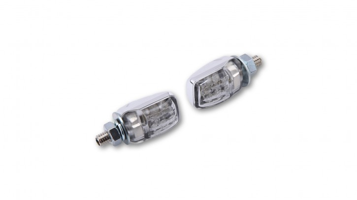 SHIN YO LED indicator light PICCO, chromed, E-mark, pair