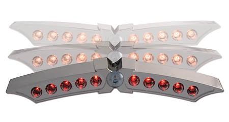 SHIN YO LED Rücklicht X-WING, Gehäuse verchromt, E- geprüft