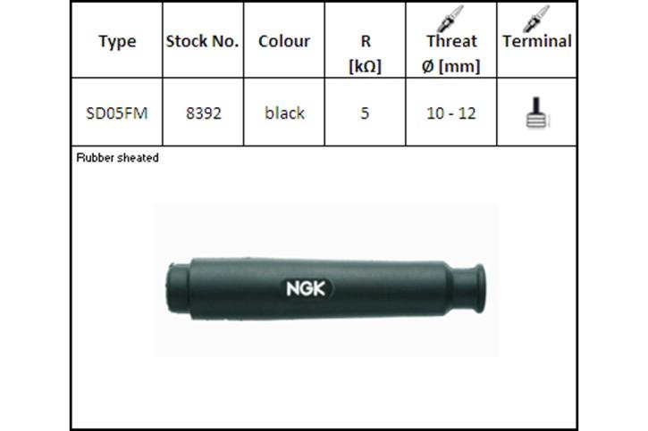 NGK Kerzenstecker SD-05 FM, gerade lang schwarz