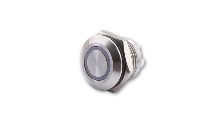 HIGHSIDER push button stainless steel with LED light ring in BLUE (M12), pieces