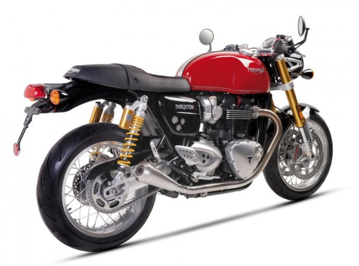 "2* SILENCER / exhaust system, f. TRIUMPH Thruxton 1200, stainless steel, ""e""-marked"