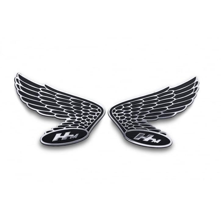 2 HONDA Flügel-Embleme, Vintage Style, Alu