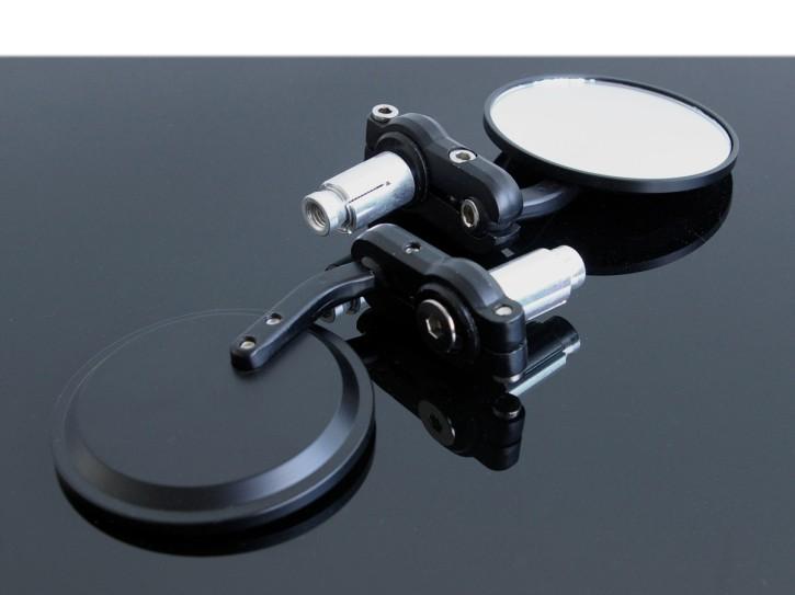 2 Mini-SPIEGEL Lenkerspiegel, Aluminium schwarz