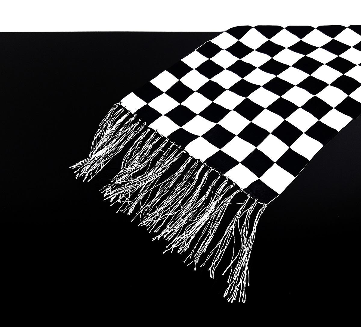 cafe racer schal tuch schwarz wei chequered flag karos 100 seide sh scf. Black Bedroom Furniture Sets. Home Design Ideas