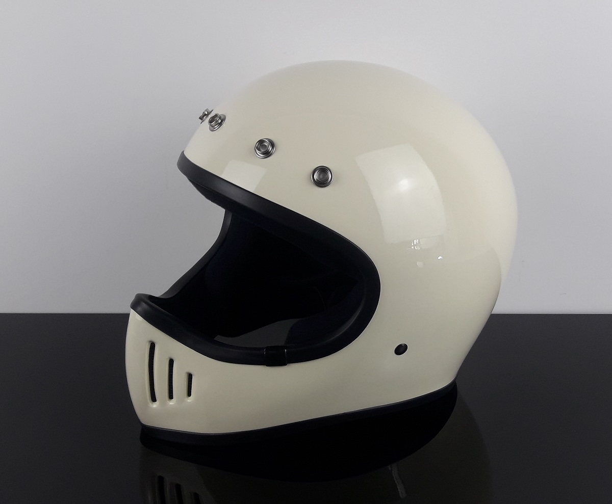retro style enduro cross helmet ivory white dot approved l ch e l. Black Bedroom Furniture Sets. Home Design Ideas
