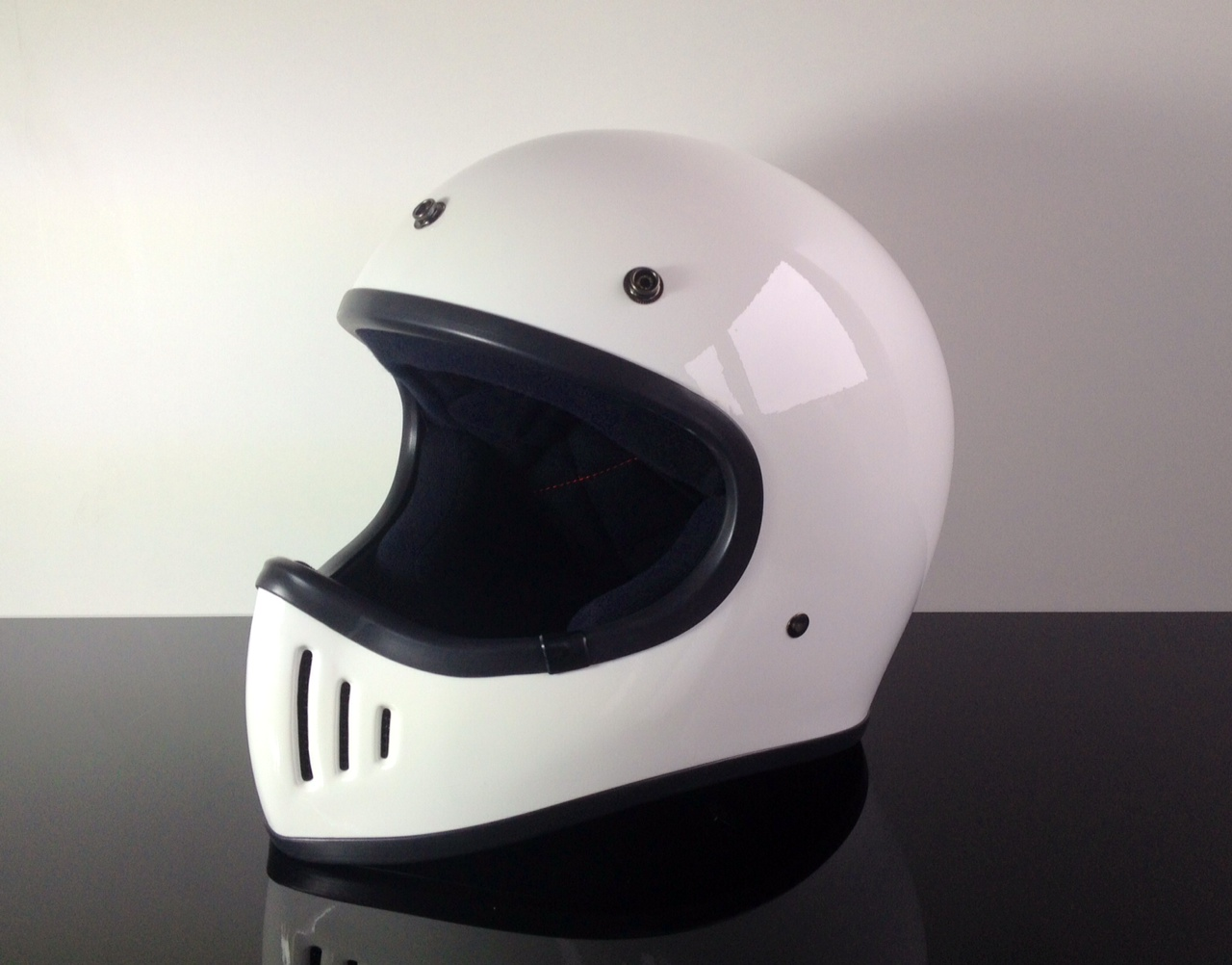 retro style cross helmet white dot approved xl ch w xl