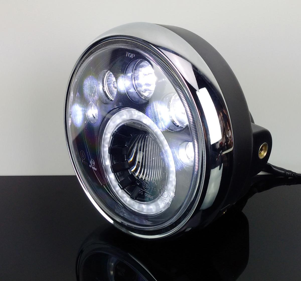 led scheinwerfer f motorrad headlight phare faro standlichtring universal ebay. Black Bedroom Furniture Sets. Home Design Ideas