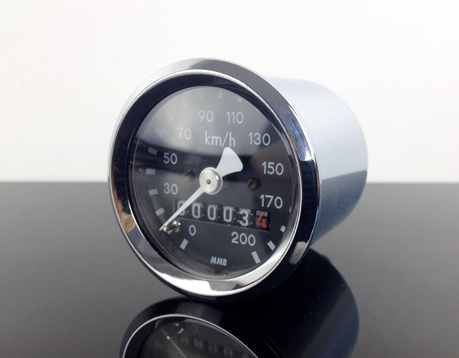 Mini Tacho Tachometer Speedo Tachymètre f 1,0 chrom BMW 48mm R45 K-Wert
