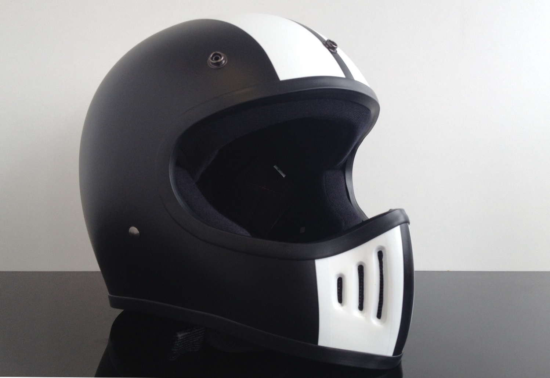 retro style cross helmet black white dot approved m ch. Black Bedroom Furniture Sets. Home Design Ideas