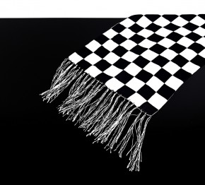 "Cafe-Racer SCARF ""Chequered Flag"", black/white, pure silk, Made in GB"