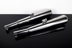"2* SILENCER / exhaust system, 38mm, stainless steel, polished, ""e""-marked, f. BMW R-models /5 /6 /7"