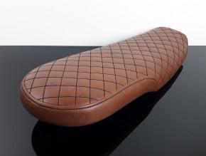 Cafe-Racer, Scrambler SEAT, Honda CX500, vintagebrown artificial leather, black square stitching