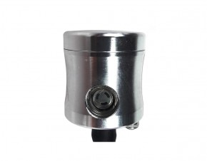 Cup / RESERVOIR for BRAKE and CLUTCH FLUID, alloy, silver coloured