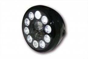 "LED-HEADLIGHT by Highsider, high gloss finished black, ""E""-marked"
