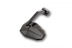 Handlebar end MIRROR with LED-INDICATOR, anodized aluminium, black