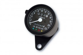 SPEEDO Tacho Tachometer SPEEDOMETER 60mm mit Kontrollleuchten, K=1,4 black, blue illuminated