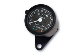 Tachometer 60mm mit Kontrollleuchten K=1,4 SCHWARZ, blau beleuchtet