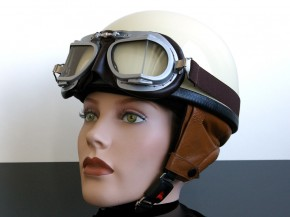 "Helmet (""Pudding bassin"") ivory/brown artificial leather"