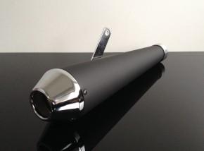 Megaphon-Auspuff, -Exhaust in mattschwarz, mit Chromkappe