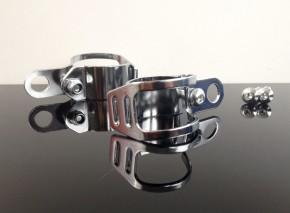 2 BLINKERHALTER, Chrom-GABELKLEMMEN universal 32-41mm