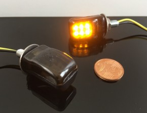 Mini LED Blinker - schwarz mit getöntem Glas