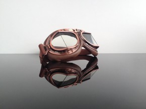 Helmet-goggles/glasses, brown / copper / dark glasses