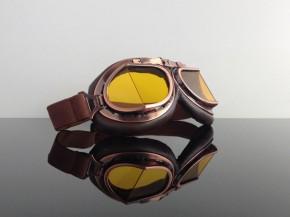 MOTORRADBRILLE f. JET-Helm, braun- / kupferfarben mit gelb getönten Gläsern