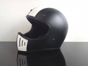 Retro-style CROSS-HELMET, BLACK & WHITE, DOT approved