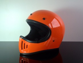 Retro-style CROSS-HELMET, ORANGE, DOT approved
