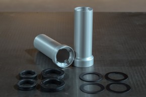 """COVER for inner fork tube, 38,5 mm, """"Swishy Shroud"""" by BHCKRT, silvery anodized"""