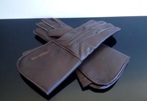 Stulpen-HANDSCHUHE / Stulpenhandschuhe, Größe M, dunkelbraun