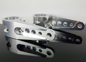 2 CNC Alu-LAMPENHALTER, silber, 35mm