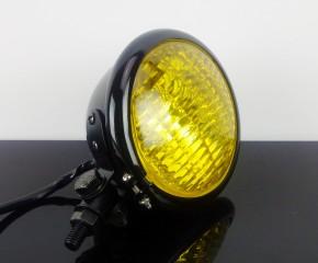 SCHEINWERFER Bates-Style, schwarz, gelbes Glas, 12 cm