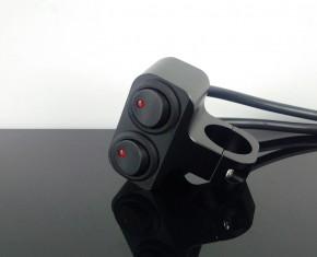 LENKERARMATUR, doppel Lenkerschalter Aluminium, schwarz m. Kontrollleuchte