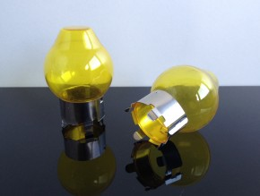 2x Yellow cap for H4 bulbs, glass/stainless steel. Made in Europe, not street legal.