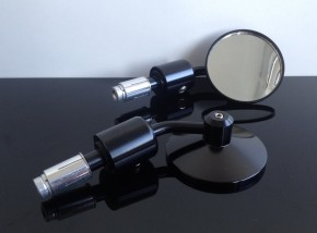 2 small bar end mirrors, CNC, black