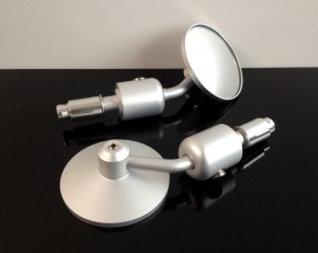 2 small bar end mirrors, alloy