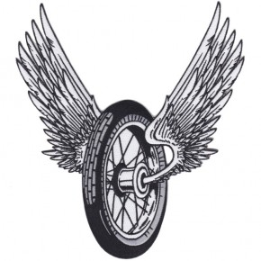 """Winged Motorcycle Wheel"" Patch LARGE"