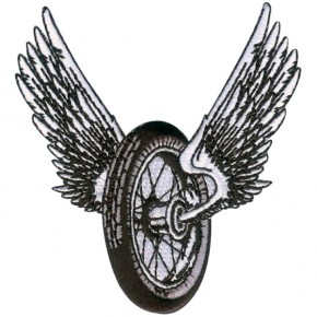 """Winged Motorcycle Wheel"" Patch SMALL"