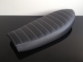 Cafe-Racer,- Scrambler-SITZBANK, SR 500, schwarz, weiße Nähte