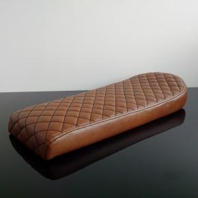 Cafe-Racer, Scrambler SEAT, universal, darkbrown/vintage leather, black square-stitching, slightly damaged