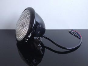 Headlight, Bates style, black, 12cm incl. control lamp