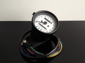 Tacho Tachometer SPEEDOMETER 60mm mit Kontrollleuchten K=1,4, weiße Beleuchtung