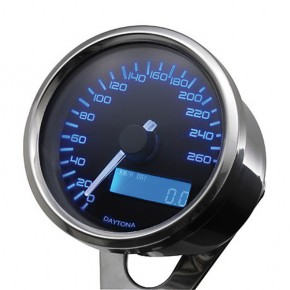DAYTONA DIGITAL SPEEDO, VELONA,D. 60 mm, bis 260 km/h, mit Halter/BLUE BACKLIGHT