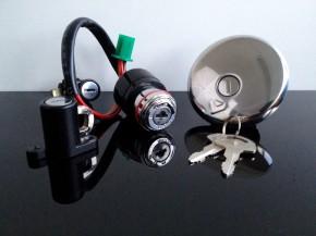 Edelstahl-Tankdeckel, inkl. 2 Schlüssel, Zündschloß und Helmschloß