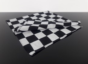 "Cafe-Racer SCARF ""Checkered Flag"", black/white, big checked pattern, pure cotton"